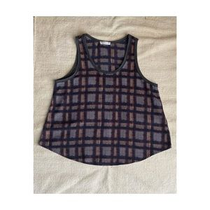 Flow-y grey, blue and red plaid tank top
